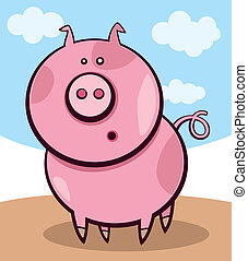 Surprised pig - Cartoon illustration of funny surprised pig