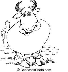 Bull for coloring book - Illustration of funny bull for...