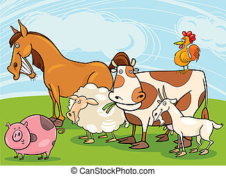 farm animals - funny farm animals group cartoon illustration