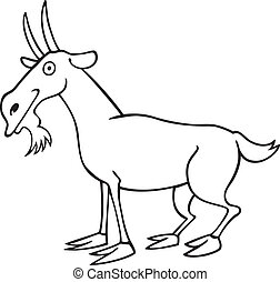 Funny goat for coloring book - illustration of Funny goat...