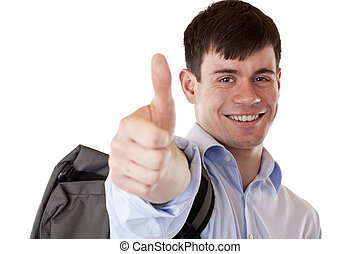 Happy smiling successful student with rucksack shows thumb up