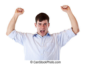 Young attractive successful man jubilates with chlenched fists