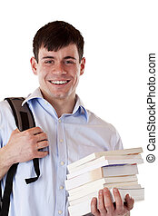 Portrait of happy smiling male student with books