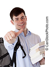 Young attractive handsome student with books shows thumb up