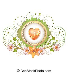 Heart and frame with flowers