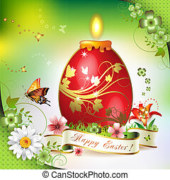 Easter card with butterflies, candle and decorated egg on...