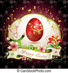 Easter card with bunny, butterflies and decorated egg on...