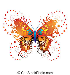 Stylized red butterfly with twigs curls isolated on white...