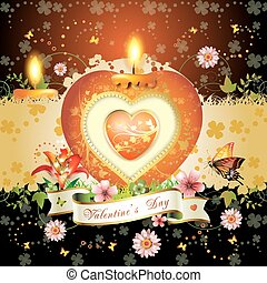 Valentine\'s day card. Red elegant candle with heart shape,...