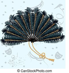 feathers fan - on an abstract background of the carnival a...