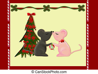 Christmas Love - Two mice kissing beside a Christmas tree....