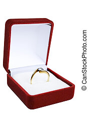 engagement ring - shiny engagement ring in red box isolated