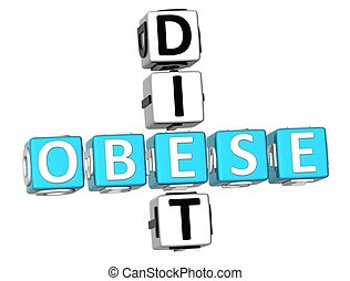 Obese Diet Crossword - 3D Obese Diet Crossword on white...