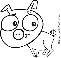 cute piggy for coloring book