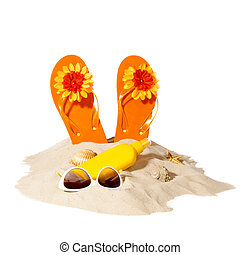 beach concept with pile of sand - beach items on a sunny...