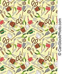 seamless gardening pattern  - seamless gardening pattern