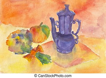 Childs painting still life - Childs painting watercolour...