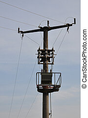 Power pole with transformer