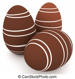 3d chocolate eggs with white stripes