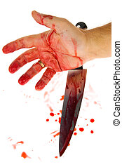 Knife with blood. Crime. Murder weapon - A knife smeared...