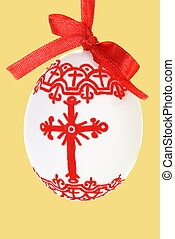 Hand Painted Easter Egg with Bow on Gold
