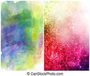 Beautiful watercolor background in soft magenta, yellow and...