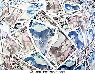 Yen banknotes of the Japanese currency - Many of the...