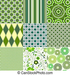 Set green seamless patterns