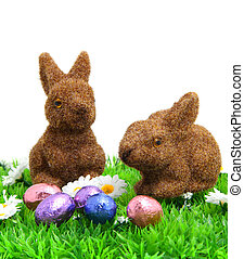 two brown bunny on grass with easter eggs
