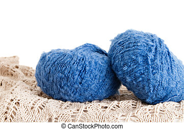 the blue yarn skeins isolated on white