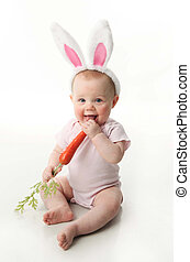 Easter bunny baby - Portrait of a cute baby dressed in...