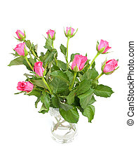 bouquet of pink roses - Bouquet of pink roses in vase over...