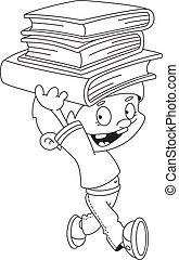boy with books outlined