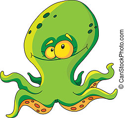 octopus - illustration of a green octopus