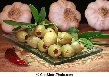 Olives - olives with olive branch and hot pepper and garlic