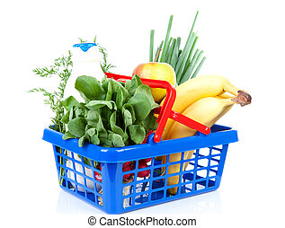 filled with grocery blue red shopping basket isolated on...