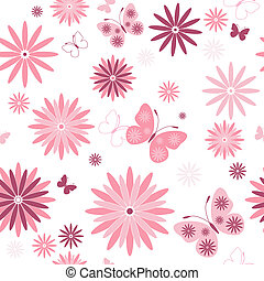 White seamless floral pattern with pink flowers and...