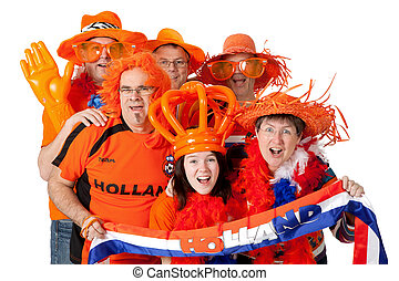 Group of Dutch soccer fans - Group of Dutch soccer fans over...
