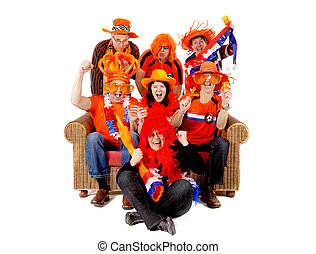 Group of Dutch soccer fan watching game - Group of Dutch...