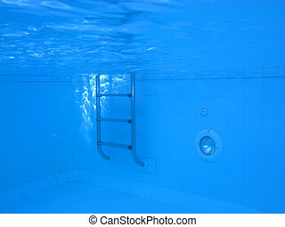 Underwater picture of a swimmingpool; concept of isolation,...