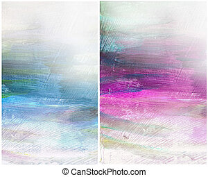Beautiful watercolor background in soft magenta, blue and green