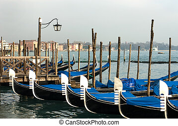 Grand Canal Scene, Venice, Italy - Gondolas on the Grand...