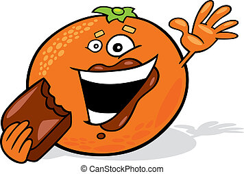 cartoon orange eating chocolate - illustration of cartoon...