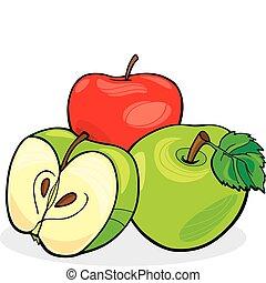 three apples - illustration of three juicy apples