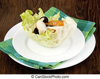 Fruit salad in lettuce leaf