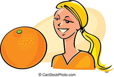 woman with orange fruit - illustration of woman with orange...