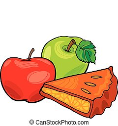 apples and apple pie - illustration of apples and apple pie