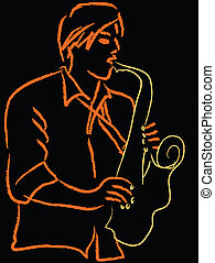 Jazzman - Jazz man playing saxopnone Sketch line drawing in...