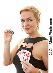 Woman holding Royal Flush over white background