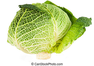 Savoy cabbage - Macro detail of savoy cabbage on white...